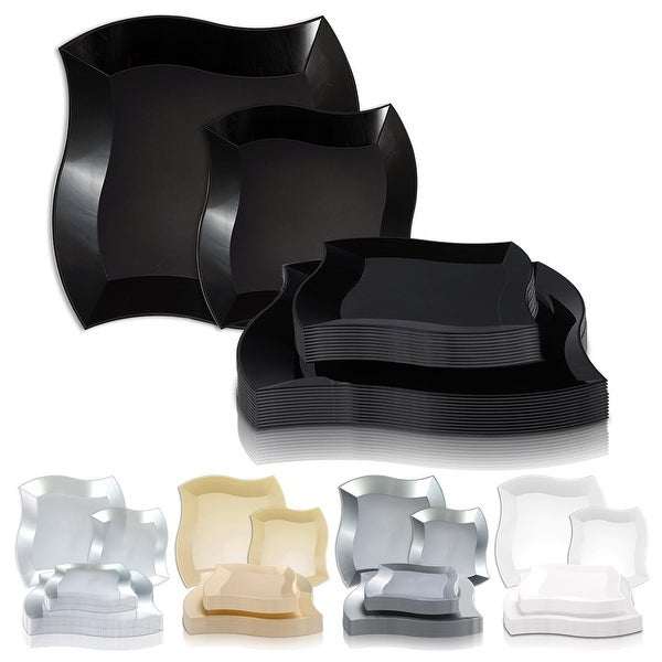 Solid Square Wave Disposable Plastic Plate Packs - Party Supplies. Opens flyout.