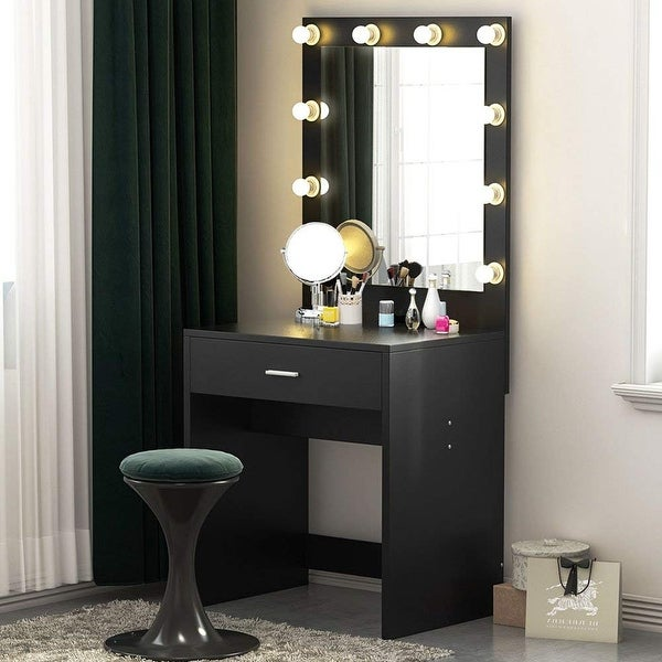 Makeup Vanity with Lighted Mirror, Dressing Table, Dresser Desk for Bedroom (Stool not included). Opens flyout.