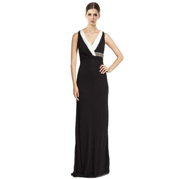 David Meister Embellished Waist Sleeveless Contrast Evening Gown ...