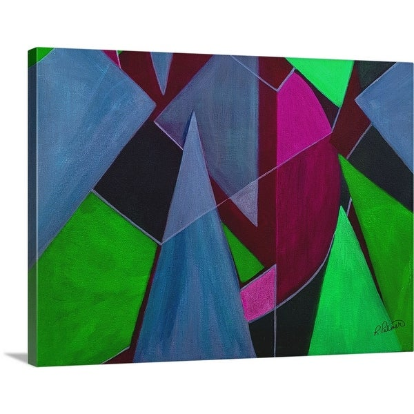 """""""Triangle Abstract Blue Maroon"""" Canvas Wall Art"""