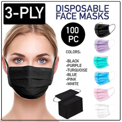 Disposable Face Mask 100 PCS 3-Ply Dental Medical Ear-Loop Mouth Cover - OS