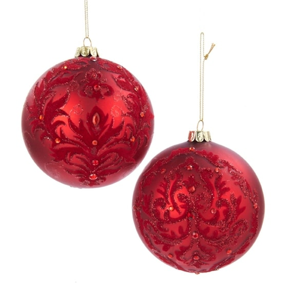 "4"" Rich Elegance Red Fleur de Lis Damask Design Christmas Ball Ornament"