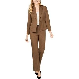 Le Suit Womens One Button Pant Suit, brown, 8