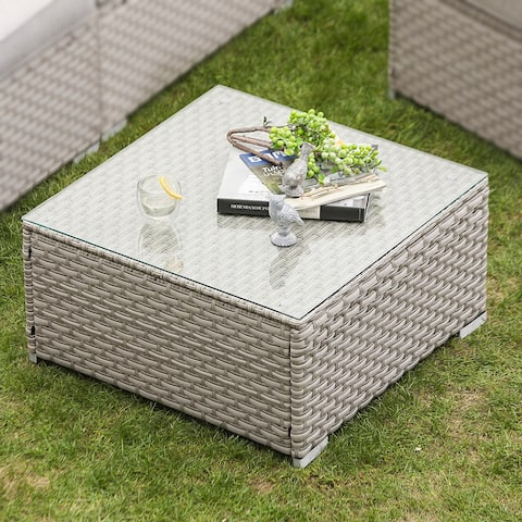 COSIEST Outdoor Furniture Wicker Glass-Top Coffee Table