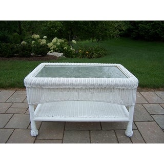 29 Bright White Two Level Resin Wicker Coffee Table with Glass Top