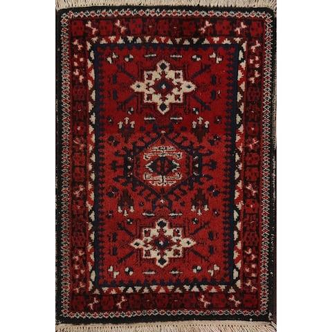 "Traditional Geometric Heriz Oriental Area Rug Hand-knotted Wool Carpet - 1'9"" x 2'4"""