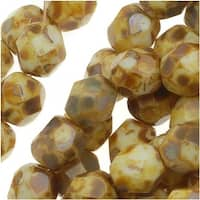 Czech Fire Polished Glass Beads 6mm Round Opaque White Picasso (25)