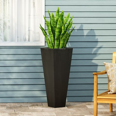 Ella Outdoor Modern Cast Stone Planter by Christopher Knight Home