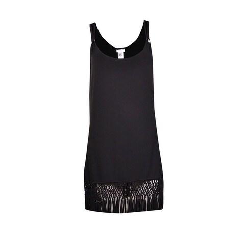 Dotti Women's Knit Jersey Fringe Trim Coverup
