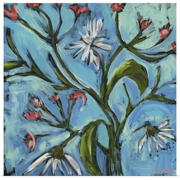 """Blue Daisy Pattern"" Poster Print"