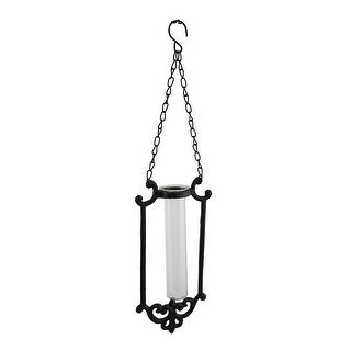 Rustic Brown Decorative Cast Iron Scrollwork Gothic Indoor/Outdoor Hanging Vase
