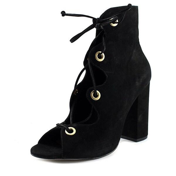 Steve Madden Carusso Women Open Toe Leather Black Sandals