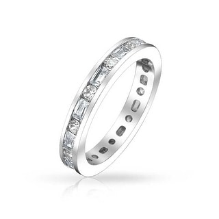 Minimalist Thin Pave Round Baguette Stackable Eternity Anniversary Wedding Band Ring For Women 925 Sterling Silver 2MM