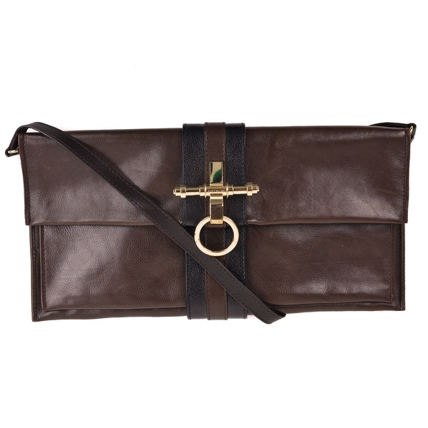 c3719787b766 Shop Givenchy Brown Leather Obsedia Clutch Shoulder Bag - Free ...