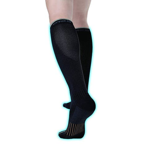 Copper Fit Unisex-Adult's 2.0 Easy-Off Knee High, Black, Size Small / Medium - Small / Medium