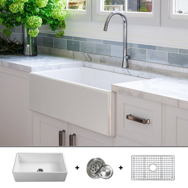 Luxury 33 inch Modern Fireclay Farmhouse Kitchen Sink, Single Bowl, White, Flat Front, includes Drain & Grid, by Fossil Blu
