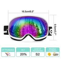 Odoland Large Spherical Ski Goggles for Kids Aged 8-16 OTG goggles S2 Double Anti-Fog Lens w/ UV400 Protection