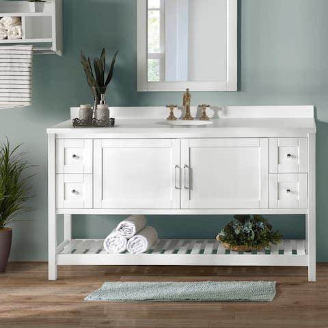 "60""W Single Sink Bathroom Vanity with 4 Drawers"