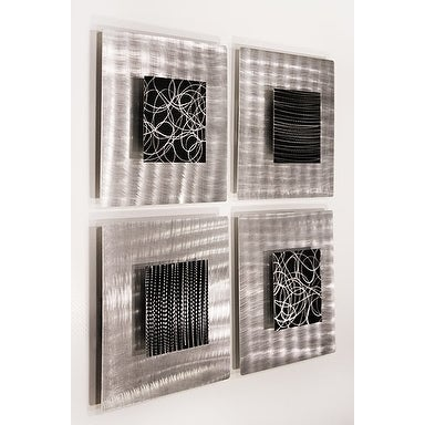 Statements2000 Set of 4 Black / Silver Metal Wall Art Accent by Jon Allen - Freestyle