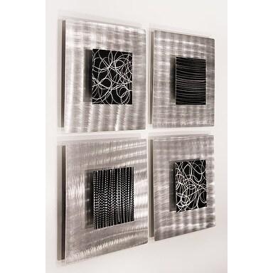 Statements2000 Black/Silver Metal Wall Art Accent Sculpture Decor by Jon Allen (Set of 4) - Freestyle