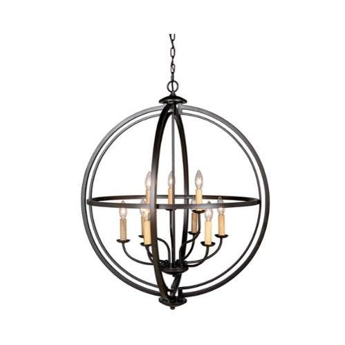 "Jeremiah Lighting 40139 Berkeley 9 Light 30"" Wide 2 Tier Cage Chandelier"
