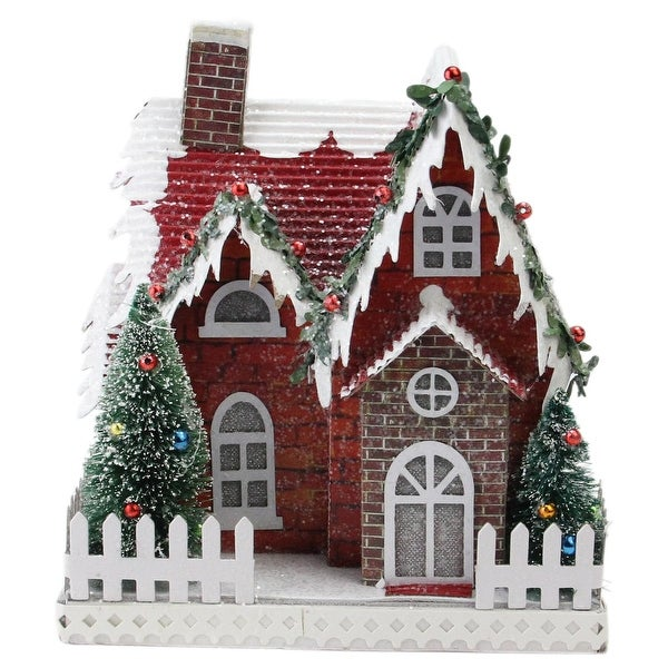 """7.5"""" Holiday Moments LED Lit Holiday House Christmas Decoration –Warm White Lights - green"""