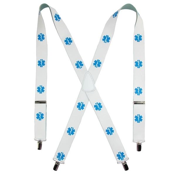 CTM® Men's Big & Tall Elastic Paramedic Print Clip-End Suspenders - One size