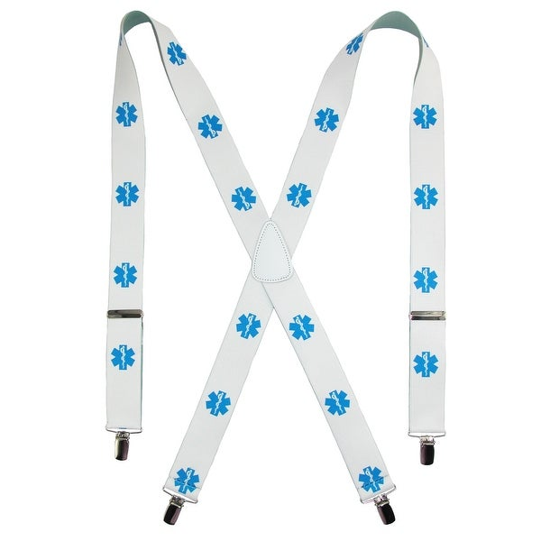 CTM® Men's Elastic EMS Logo Clip-End Suspenders