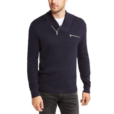 INC Men's Echo Shawl Collar Zip Sweater Dark Blue Size S - Small