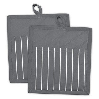 """Set of 2 Gray and White Striped Pattern Quilted Heat Resistant Potholders 9"""""""