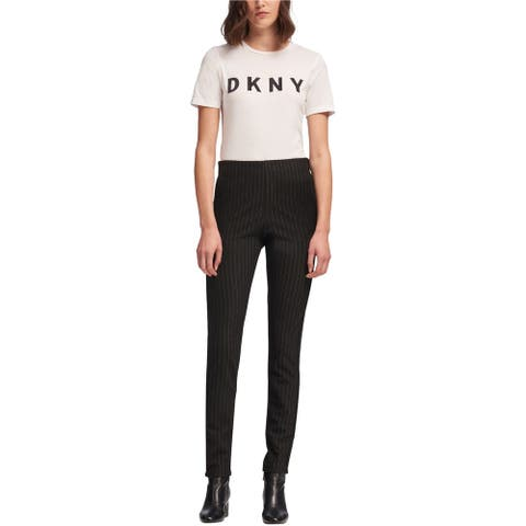 DKNY Womens Metallic Pinstripe Casual Lounge Pants, Black, Large