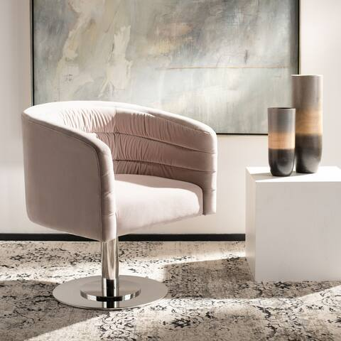 "Safavieh Couture Marie Velvet Swivel Tub Chair - 26.4""x26.4""x31.5"""
