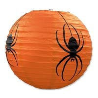 """Club Pack of 18 Halloween Spider Hanging Paper Lantern Party Decorations 9.5"""" - Black"""