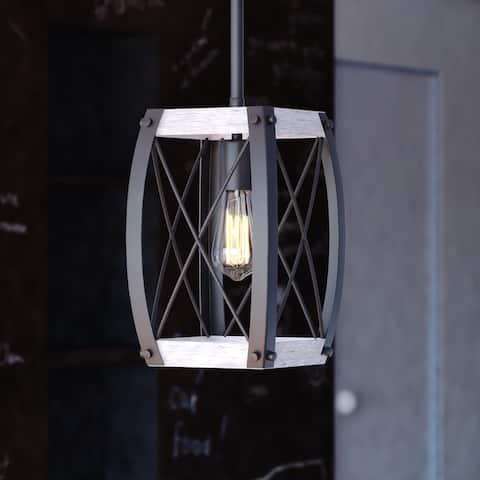 Montclare Black and White Ash Wood Farmhouse Cage Pendant Ceiling Light