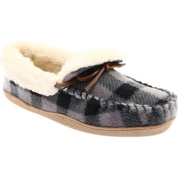 943f8c680cbf74 Clarks Women  x27 s Gintra Adira Folded Collar Moccasin Slipper Grey Plaid  Fleece