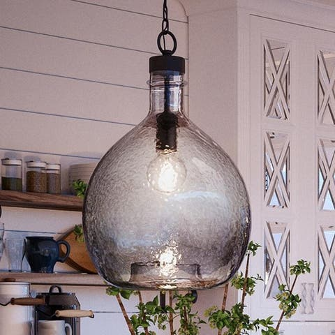 """Luxury Modern Farmhouse Pendant Light, 20.375""""H x 13""""W, with Mediterranean Style, Charcoal Finish by Urban Ambiance"""