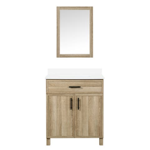 Ove Decors Canyon 30 in. Vanity Kit Natural Oak with Included Mirror