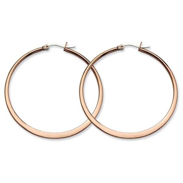 Chisel Stainless Steel Brown IP 52mm Hoop Earrings