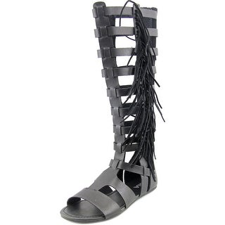 Mia Donata Women Open Toe Synthetic Black Gladiator Sandal