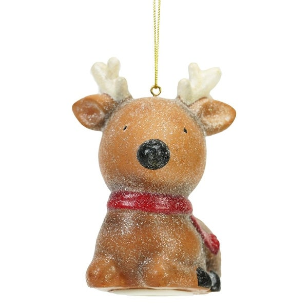 """4"""" Sweet Memories Lighted Musical Frosted Reindeer Christmas Ornament - brown"""