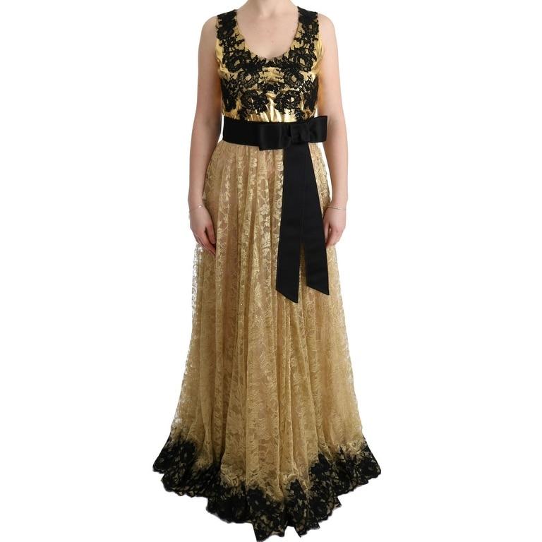 Dolce Gabbana Gold Black Floral Lace Womens Dress It42 M