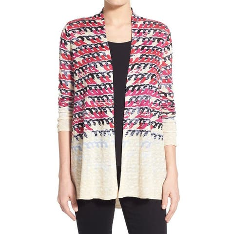 NIC+ZOE Womens Small Loop-Print Cardigan Sweater