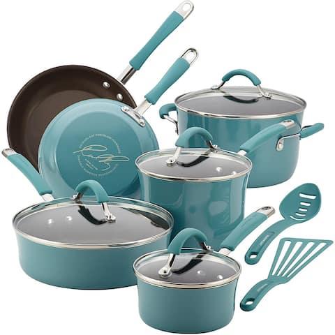Rachael Ray Cucina Porcelain Cookware 12 Piece, Agave Blue