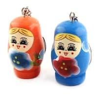 Matryoshka Design Flower Pattern Key Holder Keychain Keyring Orange Blue 2 Pcs