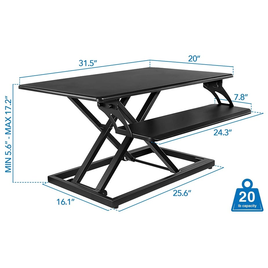 Shop Tabletop Height Adjustable Stand Desk With Keyboard Tray Mi