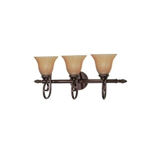 "Nuvo Lighting 60/2413 Moulan 3 Light 25"" Wide Vanity Light with Champagne Washed Linen Glass Shades - copper bronze"