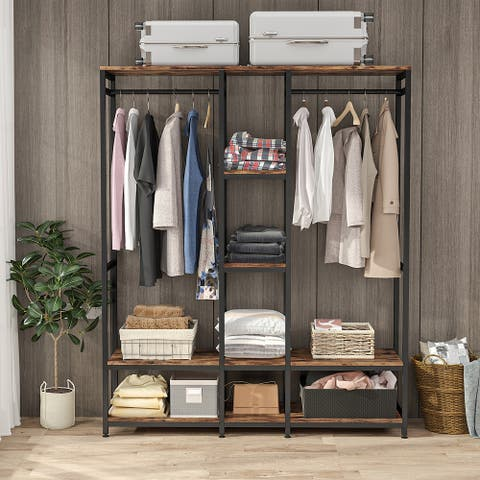 Double Rod Free standing Closet Organizer,Heavy Duty Clothe Closet Storage with Shelves,
