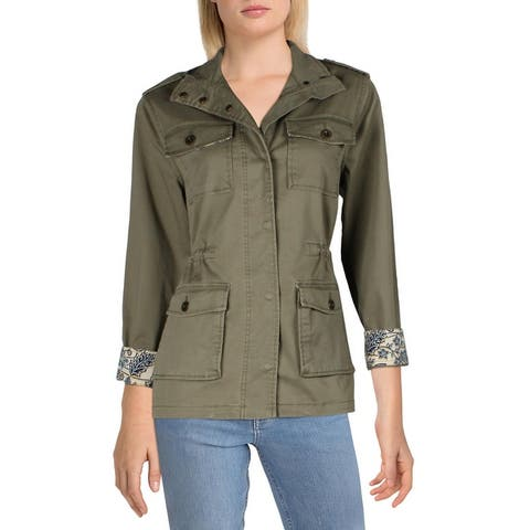 Jessica Simpson Women's Military Inspired Floral Cuff Utility Jacket - Kalamata/Wired