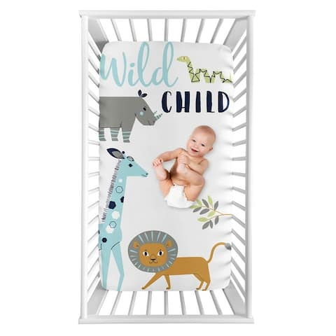 Safari Animals Collection Boy Photo Op Fitted Crib Sheet - Turquoise and Navy Blue Mod Jungle Lion Giraffe