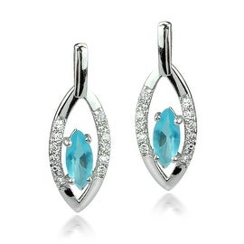 GIG Jewels Sterling Silver Sky Blue Glass and Cubic Zirconia Gemstones Marquise Shaped Dangle Earrings